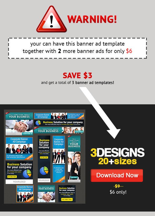 Corporate Banner Ad Bundle 1.0 $6 dollar only 3 sets of banners