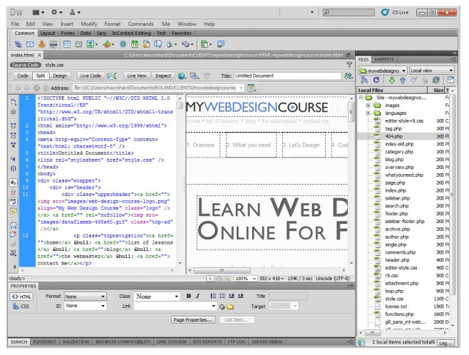 dreamweaver text editor