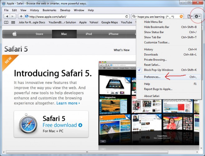 Safari Settings to fix windows render issue